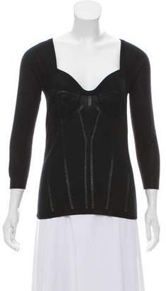 Dolce & Gabbana Sweetheart Neckline Long Sleeve Sweater