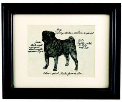 Pug Black Dog Print