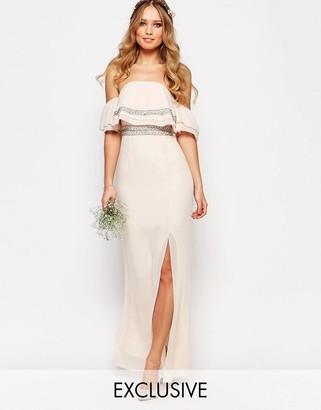 TFNC WEDDING Bandeau Embellished Maxi Dress $110 thestylecure.com