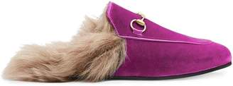 Gucci Pink Princetown velvet fur lined mules