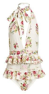 Zimmermann Women's Honour Floral Ruffle Halterneck One-Piece Swimsuit