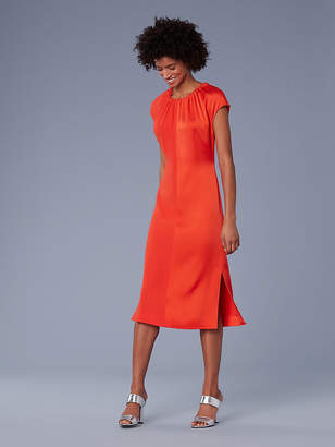 Diane von Furstenberg Short-Sleeve Pintucked Color Block Dress