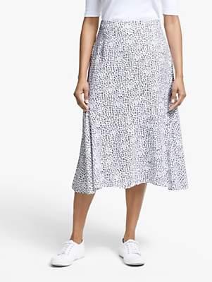 84e5820b633b Collection WEEKEND by John Lewis Leopard Print Midi Skirt, White/Black
