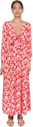 Borgo De Nor Calla Lily Print Long Sleeve Crepe Dress