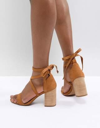 Asos Design DESIGN Travis Tie Leg Heeled Sandals