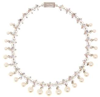 Miu Miu Crystal and faux pearl necklace