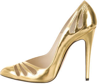 Brian Atwood Metallic Pointed-Toe Pumps $195 thestylecure.com