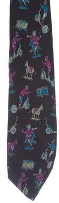 Fendi Circus Print Silk Tie