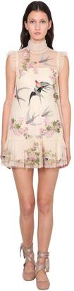 RED Valentino EMBROIDERED TULLE MINI DRESS