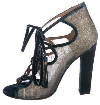 Salvatore Ferragamo Velvet Lace-Trimmed Boots