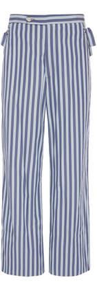 BODE Tie-Detail Striped Cotton Pants