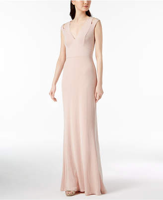 Calvin Klein Metallic Cutout Gown