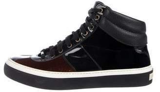 Jimmy Choo Velvet High-Top Sneakers
