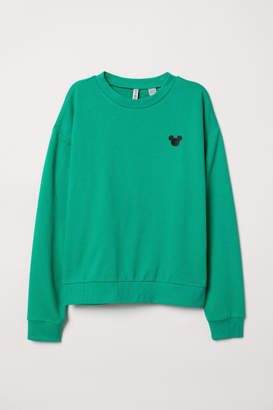 H&M Sweatshirt with Embroidery - Green