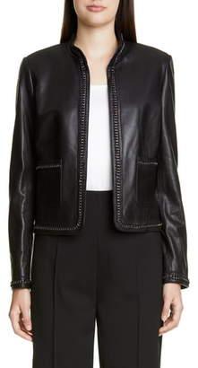 St. John Chain Detail Leather Jacket