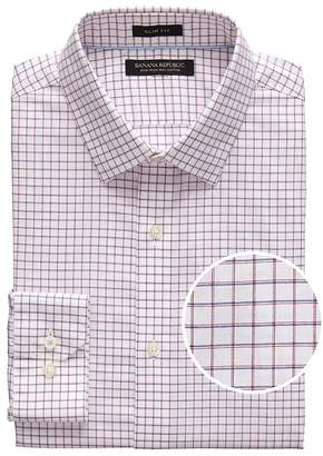 Banana Republic Grant Slim-Fit Non-Iron Mini Grid Dress Shirt