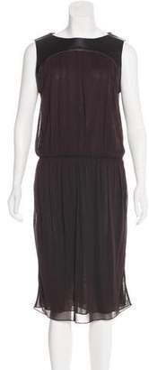 Derek Lam Leather-Paneled Midi Dress