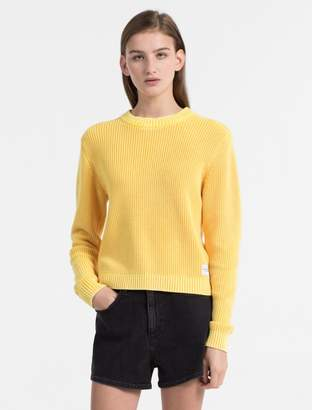 Calvin Klein monogram logo cotton rib-knit sweater