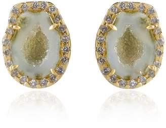 Kimberly Mcdonald Green geode stud earrings with diamonds
