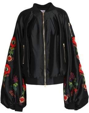 Stella Jean Embroidered Satin Bomber Jacket