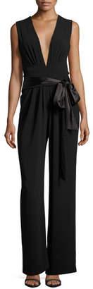 Halston Sleeveless Wide-Leg Plunging Jumpsuit w/ Satin Belt