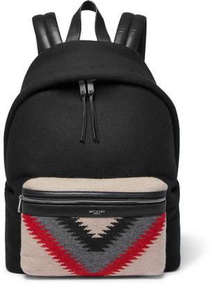 Saint Laurent City Leather-Trimmed Patterned Felt And Canvas Backpack