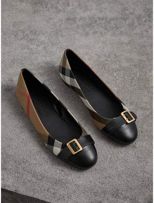 Burberry Buckle Detail House Check and Leather Ballerinas