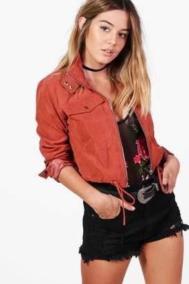 boohoo Petite Rose Cropped Utility Jacket