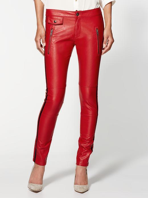 Blank Red Vegan Leather Moto Skinny Jeans