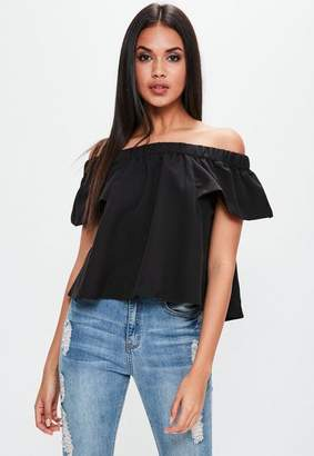 Missguided Black Bardot Short Sleeve Top