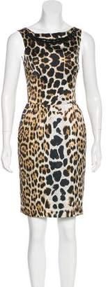 Blumarine Animal Print Silk Dress