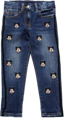 MonnaLisa Mickey Mouse Denim Effect Cotton Pants
