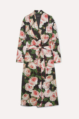 Dolce & Gabbana Floral-print Silk-charmeuse Robe - Black