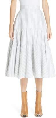 Calvin Klein Silk Tiered Prairie Skirt