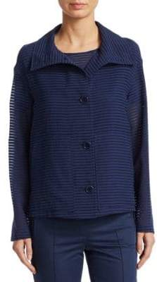 Akris Punto Shadow Stripe Button-Front Jacket