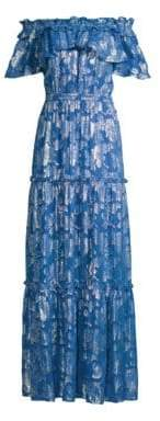Shoshanna Women's Milani Metallic Floral Off-The-Shoulder Silk Maxi Dress - Palace Blue - Size 0