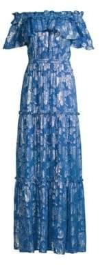 Shoshanna Milani Metallic Floral Off-The-Shoulder Silk Maxi Dress
