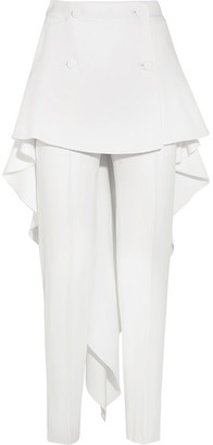 Layered Stretch-cady Slim-leg Pants - White