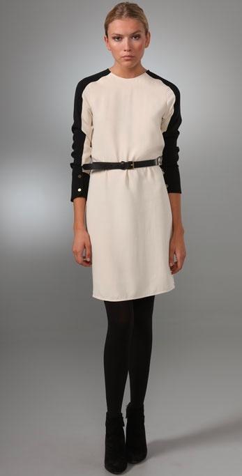 Derek Lam Long Sleeve Dress with Black Trim