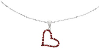 """Sterling Red Crystal Heart Pendant w/ 18"""" Chain"""