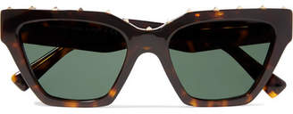 Valentino Studded Cat-eye Acetate Sunglasses - Tortoiseshell