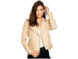 Blank NYC Natural Vegan Leather Moto Jacket in Natural Light