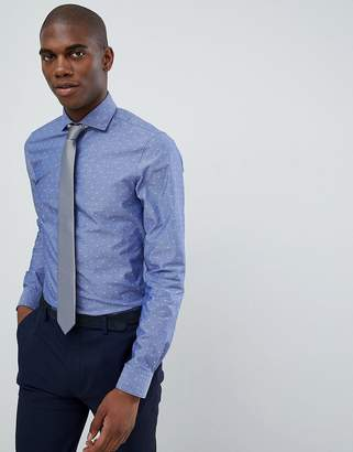 Michael Kors slim fit smart shirt in blue fil coupe