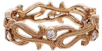 14K Pink Gold Diamond Open Work Beaded Band Ring Size 6.75