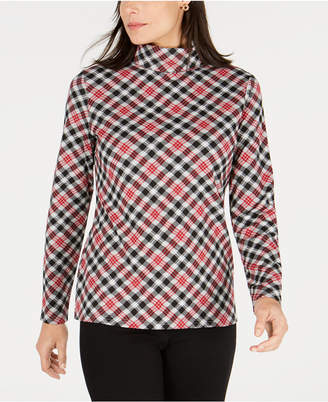 Karen Scott Sunday Plaid Printed Turtleneck