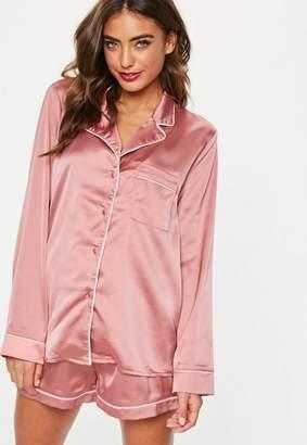 Missguided Pink Piping Detail Short Pajama Set