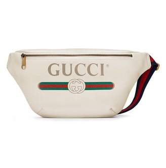 Gucci white Print leather belt bag