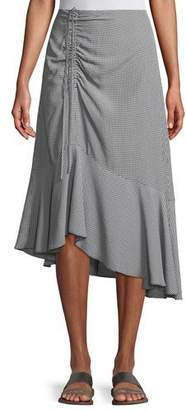 Club Monaco Ruanne Gingham Ruched Midi Skirt