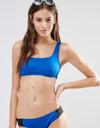 Stella McCartney Color Block One Shoulder Bikini Top