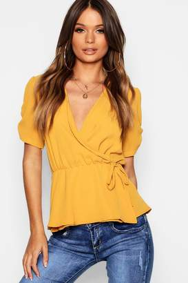 boohoo Woven Wrap Front Top